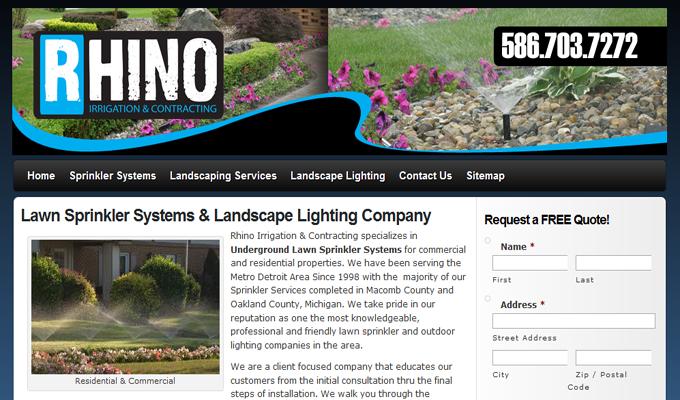 sprinkler company website design mi
