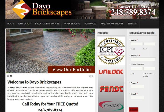 Website for Brick Paving Company MI