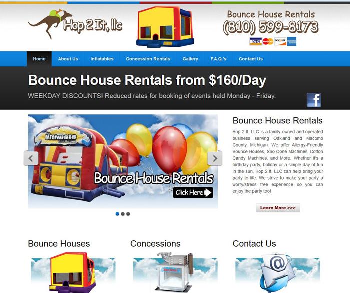 Rental House Website: Hop 2 It, LLC – Bounce House Rental Company